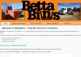 Screenshot of BettaBins Website