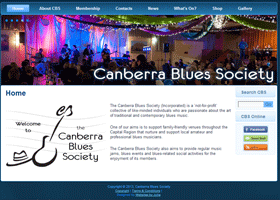 Screenshot of the Canberra Blues Society Website