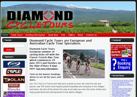 Screenshot of the Diamond CycleTours Website