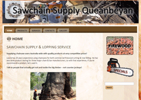 Screenshot of the Sawchain Supply Queanbeyan Website