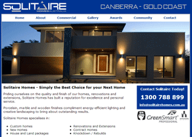 Screenshot of the Solitaire Homes Website