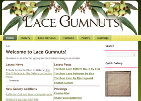 Screenshot of Lace Gumnuts home page